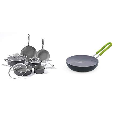 "GreenPan Chatham ceramic Non-Stick 10Pc Cookware Set, Grey - & Mini Healthy Ceramic Nonstick, Round Egg Pan, 5"", Gray"