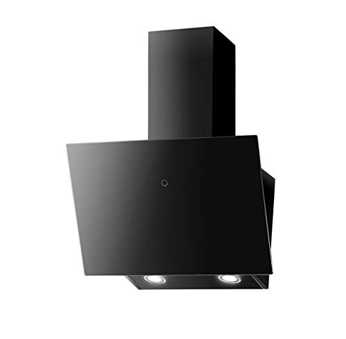 PROKIRA DH60GB-01 Kopffrei 350 m³ Haube Ablufthaube Umluft Dunstabzugshaube Wandhaube Schwarz LED Glas 60 cm