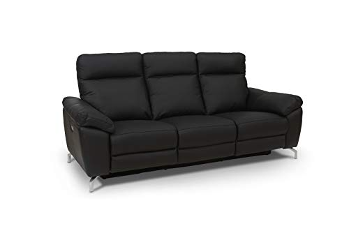 Ibbe Design Schwarz Leder 3er Sitzer Relaxsofa Couch mit Elektrisch Verstellbar Relaxfunktion Heimkino Sofa Doha mit Fussteil, Federkern, 222x96x101 cm