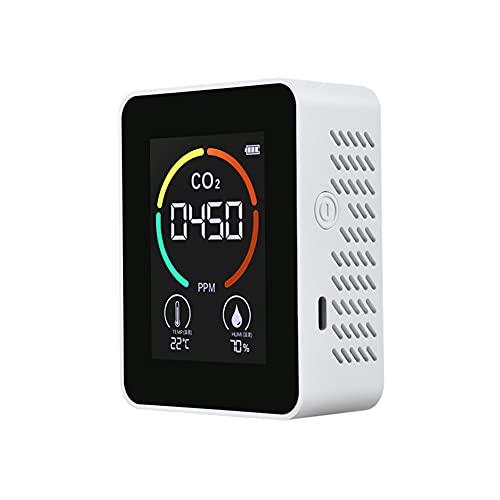 Festnight Detector de CO2 portátil para interiores Termohigrómetro multifuncional Detector de aire digital para el hogar Analizador inteligente de calidad del aire Monitor de contaminación del aire pa