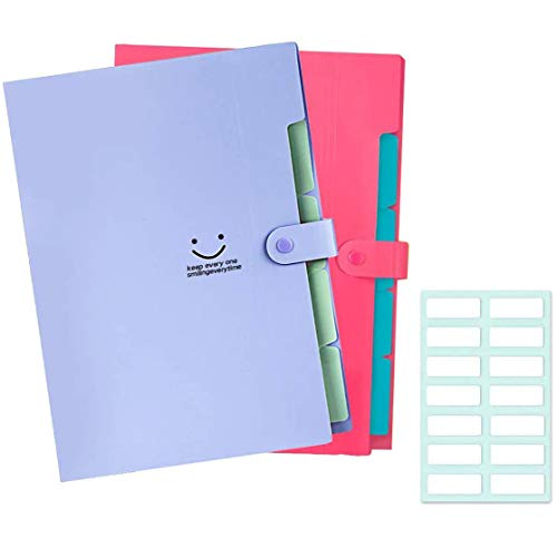 Expanding File Folder 5 Pockets Accordion Document Organizer, Plastic Expandable File Jackets for School and Office, A4 Letter Size 2 Pack (Red+Purple)