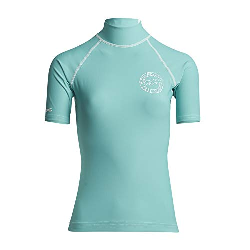 BILLABONG Logo in SS Womens Rash Vest Medium Seafoam