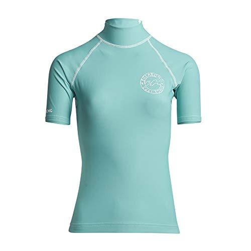 BILLABONG Damen Logo In Kurzarm Ausschlag Weste Top - Seafoam - UV50 +. Brust-Logo-Druck - Neopren-Taillenband