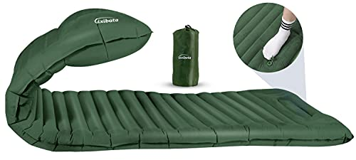 Gixibata Camping Sleeping Pad, Ultralight Self Inflating Camping Pads with Built-in Pump, Thick 4 inch Lightweight Inflatable Sleeping Mat for Camping, Hiking, Backpacking, Camp Sleep Pad