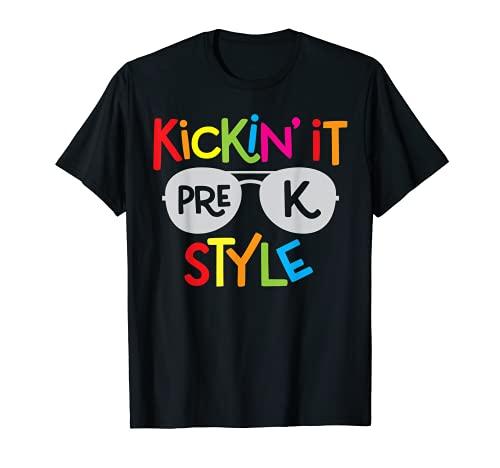 Kickin it Pre-K - Camisa para niños de regreso a la escuela Camiseta