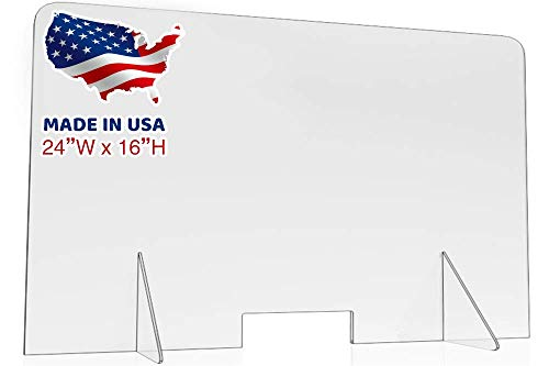 Sneeze Guard for Counter, Desk, Clear Acrylic Plexiglass Barrier Divider for Virus, Protective Shield and Guard for Business, Nail Salon, School. (24'x16')