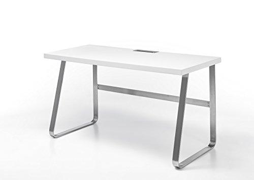 Robas Lund Schreibtisch Computertisch weiß matt, Gestell Edelstahl gebürstet, BxHxT 140x75x60 cm
