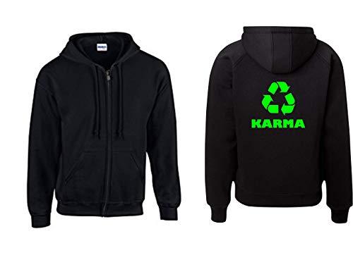 Textilhandel Hering Jacke - Karma Recycling Symbol I Radiohead Umweltschutz Greenpeace klimaschutz Neongrün (Schwarz, XL)