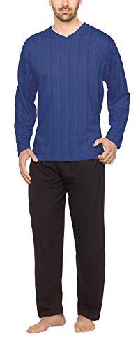 Moonline - Herren Schlafanzug lang aus 100{f6d68425a41f87f600dbb7815634f137e29ac93a79d93c89b66b638bc19b78b8} Baumwolle mit V-Ausschnitt und Streifen-Design, Farbe:Streifen-Druck auf blau, Größe:M