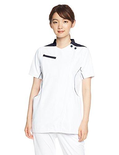 [アシックス] スクラブ 看護師 白衣 CHM058 レディース ホワイト×ネイビー(CHM058-0109) 日本 L (日本サイズL相当)