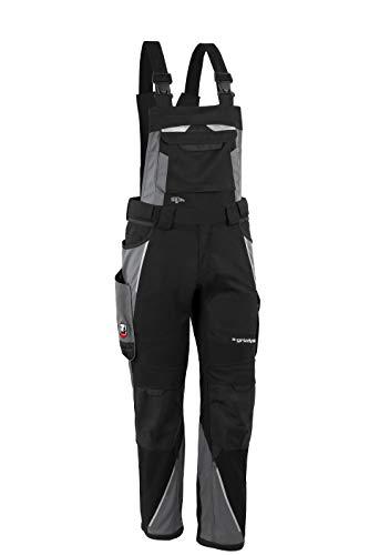 Grizzlyskin Latzhose Schwarz/Grau N74 - Workwear Arbeitshose für Männer & Damen, Unisex Blaumann, Codura-Schutzhose mit vielen Taschen