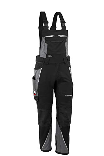 Grizzlyskin Latzhose Iron - Workwear Arbeitshose für Männer & Damen, Unisex Blaumann, Codura-Schutzhose mit vielen Taschen, Schwarz/Grau, N52