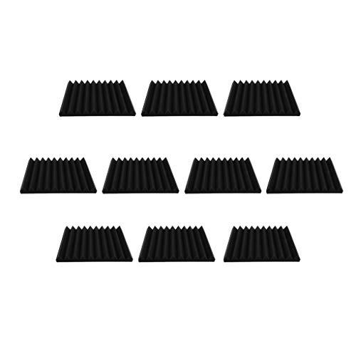 SM SunniMix Panel de Espuma de Control Acústico Profesional de 10 Piezas, Azulejo de Pared de Cuña con Forma de Ranura Triangular para Accesorio de Oficina de Est