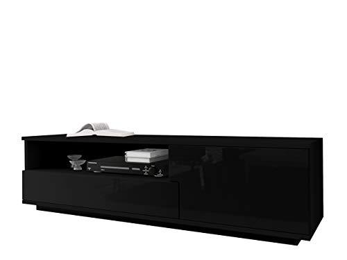 Mirjan24 TV Board Lowboard Muza, TV Lowboard mit Grifflose Öffnen, Unterschrank, Fernsehschrank, Sideboard Tisch Mediaboard (Schwarz/Schwarz Hochglanz)