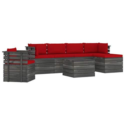vidaXL Madera Maciza Pino Muebles de Palets de Jardín 7 Piezas Cojines Mobiliario Exterior Hogar Terraza Cocina Silla Mesa Asiento Suave con Respaldo