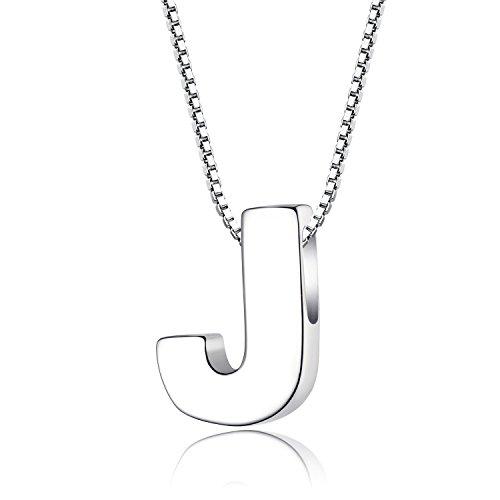 Candyfancy Buchstaben Kette - Buchstabenkette Kette mit Buchstabenanhänger Silber Halskette Kettenanhänger Initialen Silberkette Damen 925 (Kette mit Buchstabe J)