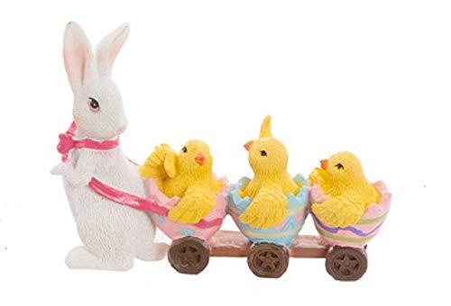 Darice Minérature de Pâques Lapin Tirant Poussin dans un Chariot Résine Multicolore Jaune/Blanc/Marron/Bleu/Rose/1 Figurine par commande White Bunny