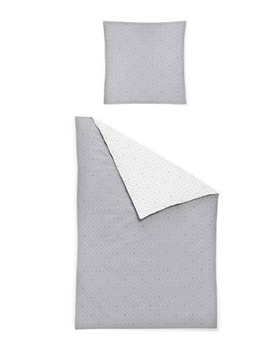 Irisette Biber Bettwäsche 135x200 2tlg Silber-grau weiß | Bettwäsche-Set aus 100% Baumwolle | 2 teilige Wende-Bettwäsche 135x200 cm & Kissen 80x80 cm | geometrisches Muster Nordic (135 cm x 200 cm)