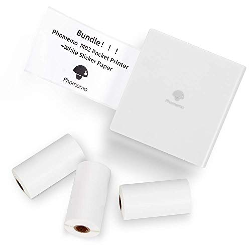 Purchase Phomemo M02 Pocket Printer- Mini Bluetooth Thermal Printer with 3 Rolls White Sticker Paper...