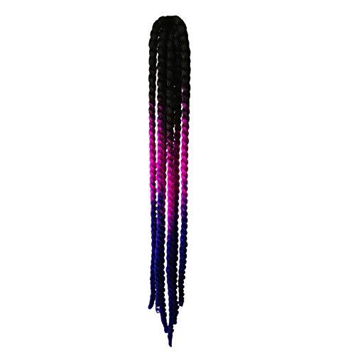 POHOVE - Casco de 23 pulgadas con gradiente de coletas, casco de pelo de coletas de gradiente de rampa para trenzas de caballo con ventosa para moto (# 04)