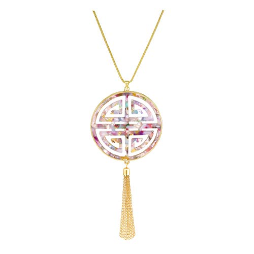 Statement Long Necklace for Women Oriental Celtic Four Blessing Good Luck Disc Pendant Necklace Fringe Tassel Tortoise Shell Leopard Print Acrylic Resin Necklace (Floral)