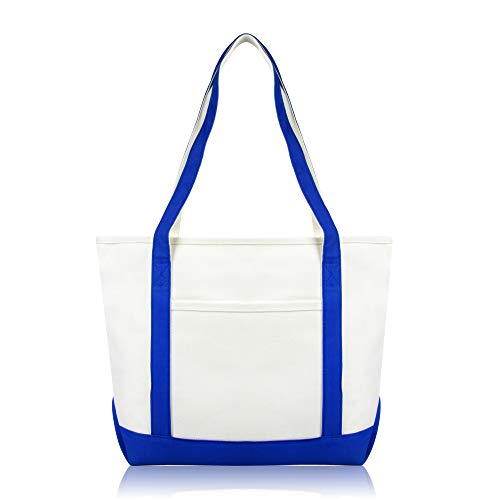 DALIX Daily Shoulder Tote Bag Premium Cotton in Royal Blue