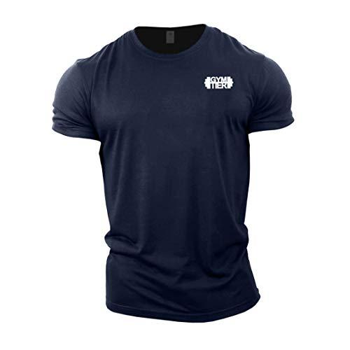 Camiseta de culturismo para hombre de Gymtier – insignia lisa – parte superior de entrenamiento de gimnasio Azul azul marino S