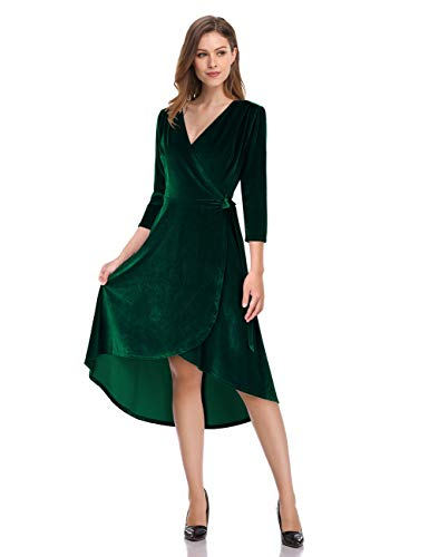 Leadingstar Women's Sexy V-Neck Long Sleeve Party Wear Velvet Dress (Green, S)