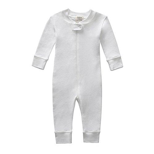 Owlivia Organic Cotton Baby Boy Girl Zip Front Sleep N Play Pajama Sleeper, Footless, Long Sleeve (Size 0-18 Month) (Newborn, Off-White)