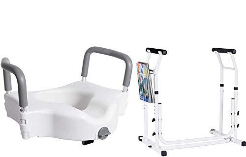 Vaunn Medical Raised Toilet Seat and Toilet Safety Frame Grab Bar Rail Bundle