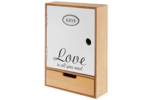 elbmöbel Schlüsselbrett Holz weiß mit Deko Schriftzug Love Vintage Schlüsselkasten Magnet Metall-Haken (H27 x B18 x T6 cm)