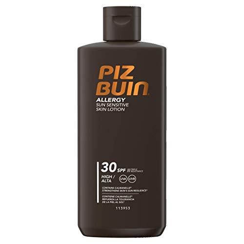 Piz Buin Allergy Sun Sensitive Skin Lotion LSF 30, Feuchtigkeitsspendende Sonnencreme für Allergiker - gegen Hautirritationen, Wasserfeste Sonnenlotion für sonnenempfindliche Haut, 200 ml