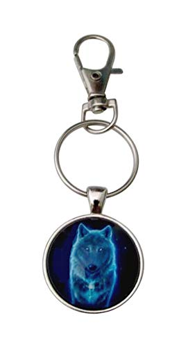 Porte-clés, Bijou de Sac cabochon Loup Bleu avec Mousqueton.
