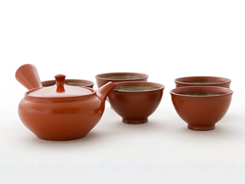 Original japanische Teekanne, Kyusu, mit 5 Becher: Shu Hiramaru. Integriertes Tee-Sieb aus Edelstahl. Echt japanisches Tee-Set aus natürlichem Tokoname-Ton in schöner Geschenk-Box