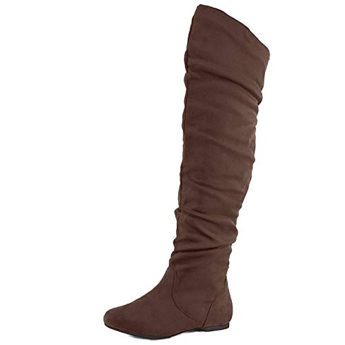Nature Breeze Womens Vickie Hi Thigh High Boot Shoes Brown Suede 10