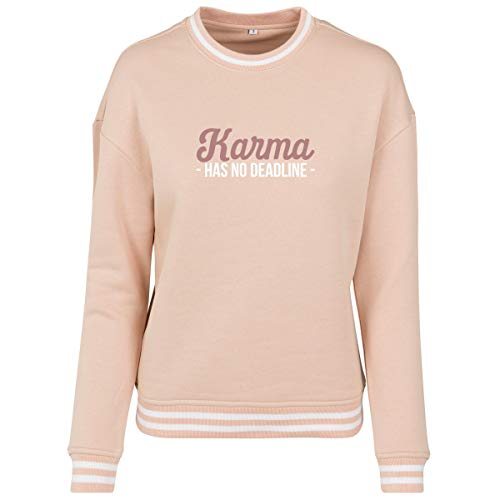 Shirtfun24 Damen Statement Karma Has no Deadline Rosegold Print Contrast Sweater Sweatshirt, rosa, L