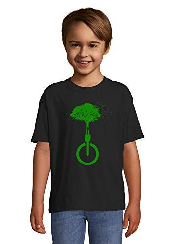 Luckyprint Dissconnect Green Nature Forest Birds Hippie Art Noir Kids Colorful T-Shirt 6 Year Old (106/116cm)