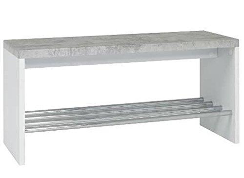 PEGANE Banc en Tube d'acier chromé et MDF Optique béton - Dim : L46 x P32 x H77 cm