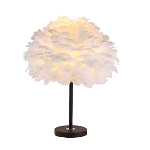 HYY-YY Iluminación decorativa, Reading lámpara- de noche y lámparas de mesa Pluma dormitorio de la lámpara romántica Botón lámpara de cabecera del cumpleaños de la boda del interruptor pluma lámpara d