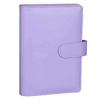 Antner A6 PU Leather Notebook Binder Refillable 6 Ring Binder for A6 Filler Paper Loose Leaf Personal Planner Binder Cover with Magnetic Buckle Closure Purple