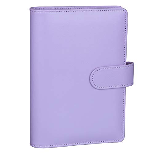 Antner A6 PU Leather Notebook Binder Refillable 6 Ring Binder for A6 Filler Paper, Loose Leaf Personal Planner Binder Cover with Magnetic Buckle Closure, Purple