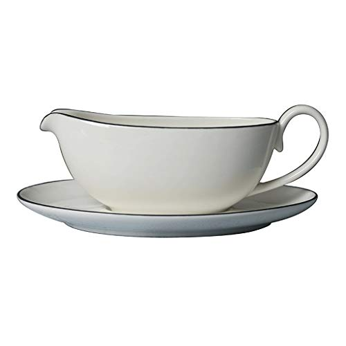 Gravy Sauce Boat With Saucer Stand Fine White Porcelain Ceramic Gravy Boat For Dining With Base