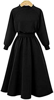 Wwucaihufafa Hot new European and American winter large size women stitching long-sleeved sweater dress (Color : Black, Size : 5XL)