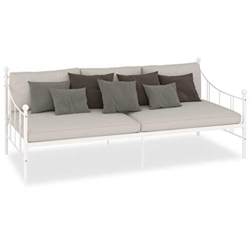 Cikonielf - Marco de cama de metal, estructura de cama, asiento de cama, cama de reposo, 208 x 95 x 83 cm, color blanco (colchón no incluido)