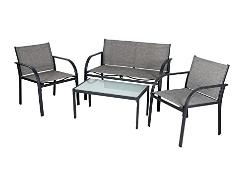 EVRE Valencia Outdoor Garden Furniture Set Patio Conservatory 4 piece set table chair sofa (Grey) (Valenica)