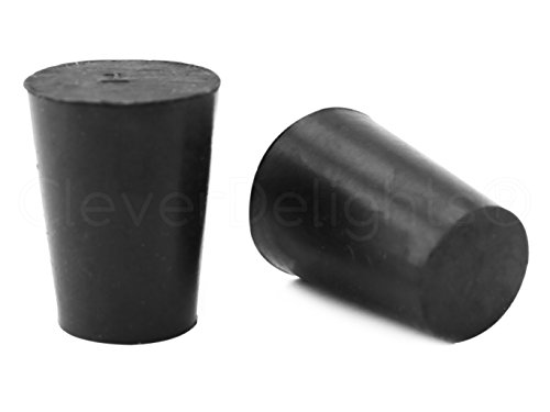 10 Pack - CleverDelights Solid Rubber Stoppers | Size 1 | 19mm x 14mm - 26mm Long - Black Lab Plug #1