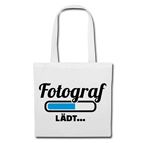 Tasche Umhängetasche Ladebalken FOTOGRAF Loading LÄDT - DIGITALKAMERA - FOTOGRAF - FOTOSHOOTING - FOTOGRAFIEREN Einkaufstasche Schulbeutel Turnbeutel in Weiß