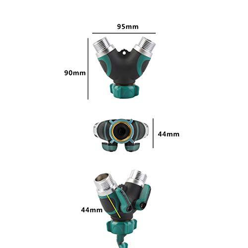 Gojiny Divisor de agua de 2 vías con 2 válvulas de cierre de manguera de jardín y conector de manguera para jardín exterior y hogar