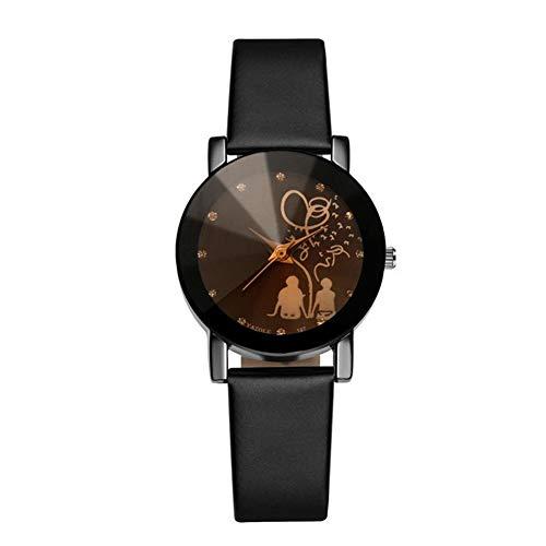 KingbeefLIU Reloj De Pulsera De Cuarzo Analógico De Piel Sintética con Diamantes De Imitación En La Espalda Unisex De Moda Negro Mujer