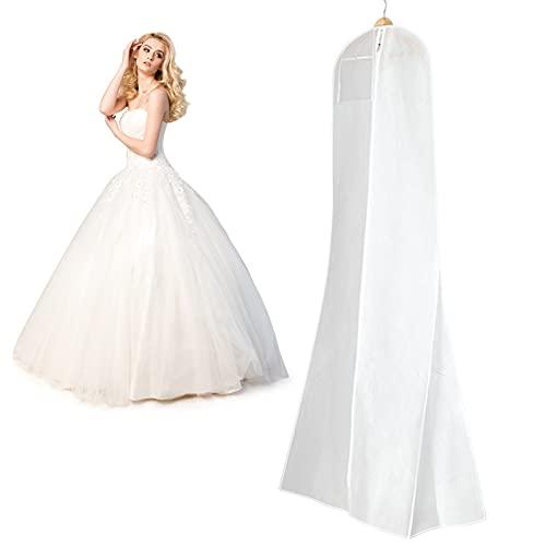 """Funda para Vestido de Novia 72"""" Transpirable Bolsa de Ropa Funda para Traje para Vestidos Abrigos Americanas Camisas Vestido de Noche 180 x 80 x 22cm (Blanco)"""